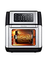 Innsky Friggitrice ad aria 10L, Forno ad aria calda 10 in 1 con Touch Screen a LED digitale, Friggere Senza Olio da 1500W, Griglia, 6 accessori e ricettario - Acciaio Inox