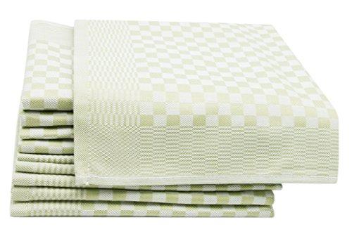 ZOLLNER 10er-Set Geschirrtücher, Vollzwirn, 100% Baumwolle, 46x70 cm, grün