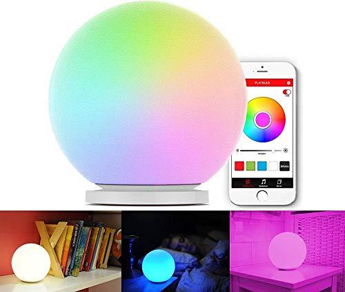 SHBUJ® -Playbulb Sphere (globo LED RGB controlado por aplicación, lámpara, luz ambiental, cambio de color, efectos de color, SmartHome) para Android y Apple de vidrio opal [Clase de energía A ++]