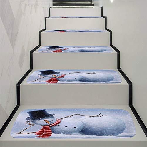 JLCP rutschfeste Stufenmatten, Weihnachten Schneemann Selbstklebender Treppenstufen-Teppich Schlafzimmer Badezimmer Tür Boden Weich Und Bequem Stufen Teppiche Protector Matten,70X22cm,5pcs