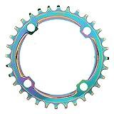 自転車チェーンリング 効率的 104BCD マウンテンバイクの正と負の歯ディスクチェーンホイール カラフルなメッキ色(32T)