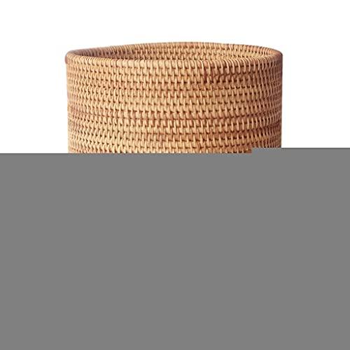 Hogar Ronda Cubo de Basura, otoño Rattan Weaving Cubos de Basura de residuos Rattan Cesta, la Cesta del almacenaje Decorativo for el Dormitorio Cocina Bote de Basura Reciclaje (tamaño : Small)