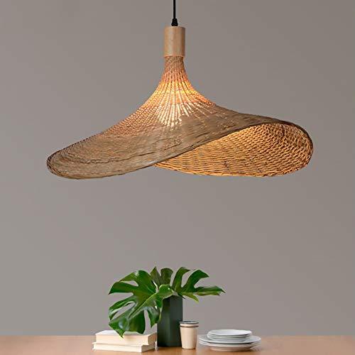 HIZH Lámpara colgante con pantalla de ratán, sombrero de paja, lámpara de bambú, luz colgante de techo natural tejida a mano, lámpara colgante para sala de estar, dormitorio, 50 cm