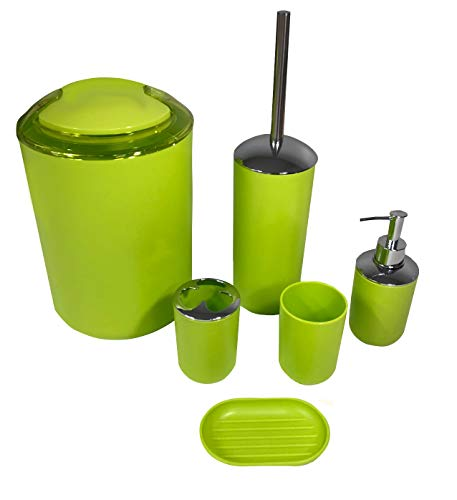 The Furniture Cove Bathroom Accessory Set 6-Piece Neon Green Plastic Featuring Your Favorite Football Team Logo - Free Trash Bag Included (49ers)