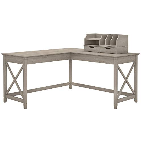 Bush Furniture Key West 60W L Shaped Desk with Desktop Organizers in Washed Gray