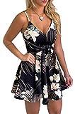 casuress Womens Dresses V Neck Mini Floral Spaghetti Strap Tie Knot Front Flowy Pleated Swing Dress Black