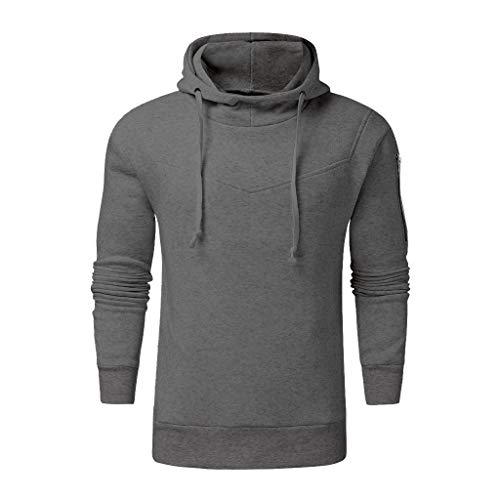 DNOQN Herren Mode Winter Reißverschluss Utility Sweatshirt Langarm Tops Bluse Dunkelgrau XXL