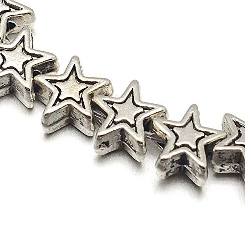 Cuentas de plata tibetana, espaciador de perlas de metal de 6 mm, 32 unidades, estrella y 1 hilo, para manualidades, joyas, cadenas, pulseras, joyas