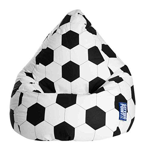 lifestyle4living Sitzsack für Kinder, Fussball Motiv, Baumwoll Bezug | Bequemer Sitzsackfussball 100% Öko-Tex Zertifiziert