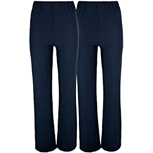 LADIES (2 PAIRS PACK) NURSE WORK CARER STRETCH ELASTICATED BOOTLEG TROUSERS 3 COLOURS (SIZES 8-26) (14, NAVY)