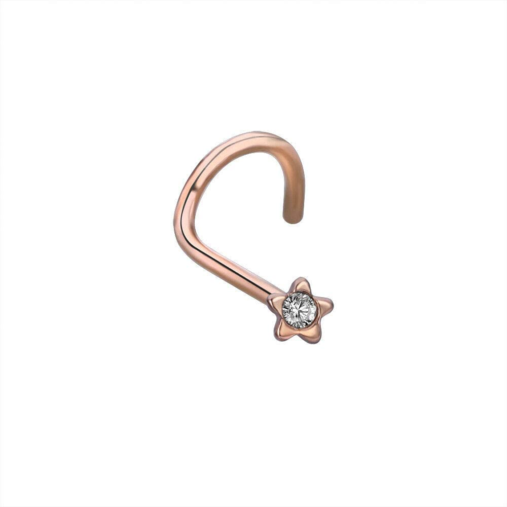 UkrGoods Star Crystal Nose Screw Studs 316L Surgical Steel Nose Ring Nostril Piercing 20G - Choose Style: 1 PC × Rose Gold