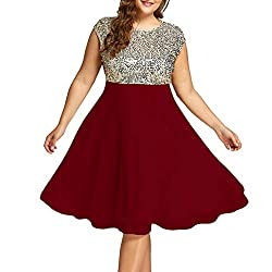 Wine Red Sequin Plus Size Formal Round Neck Sleeveless Dress