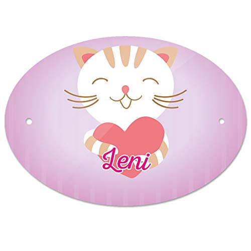Eurofoto Türschild mit Namen Leni und Motiv Katze mit Herz   Kinderzimmer-Schild