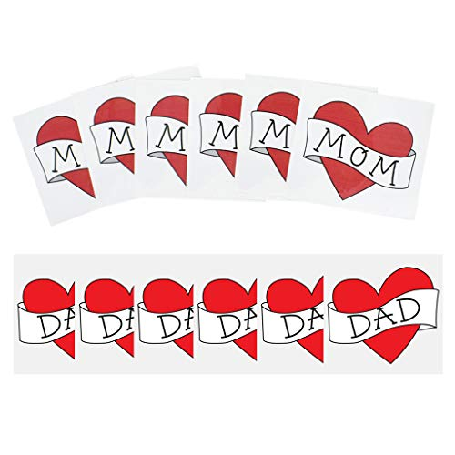 Scwopeuer Waterproof Removable Temporary Tattoo Sticker Red Heart Love Dad/Mom Kids Boys Girls Fake Tattoos Child Baby Photography Prop