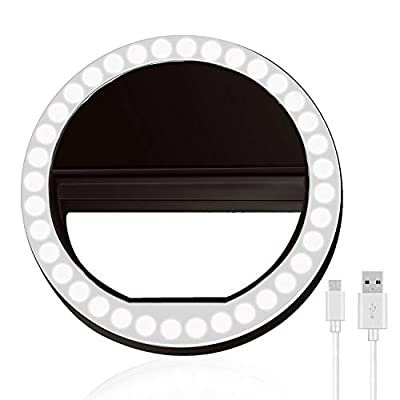 Selfie Ring Light, XINBAOHONG Rechargeable Portable Clip-on Selfie Fill Light with 36 LED for Smart Phone Photography, Camera Video, Girl Makes up from XINBAOHONG