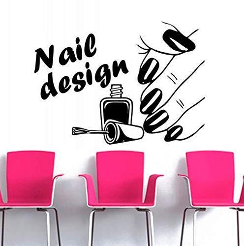 Nail Salon Vinyle Sticker Mural Vernis À Ongles Beauté Conception Vernis Polonais Manucure Wall Sticker Nail Shop Fenêtre Décoration En Verre 88x55 cm