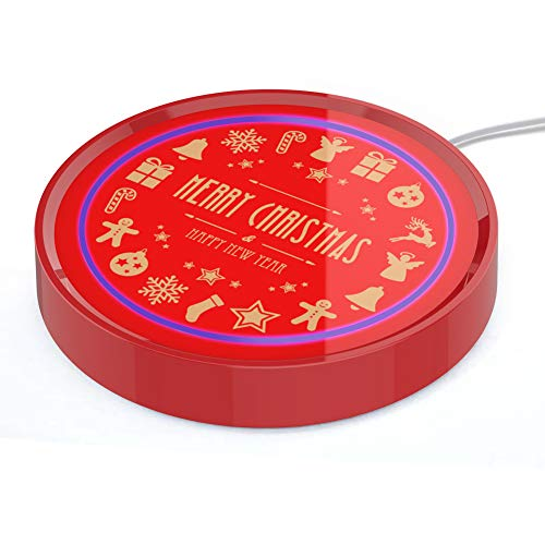 Coffee Mug Warmer, Cup & Coffee warmer Smart Thermostat Coaster for Hot Tea Beverage Office/Home Desk Use with Gravity Switch Auto On/Off 135F, Ring LED Indicator (Red-Christmas)