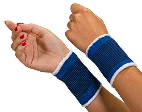 Handgelenkstütze   Orthese handgelenk   Elastische und verstellbare Handgelenkbandage   zwei Stück   linke und rechte Hand   Sport   Fitness   unisex   Blau   Universelle Größe