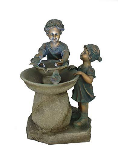 DARO DEKO Garten-Brunnen komplett Set mit Pumpe Kinder und Vögel 43cm x 50cm x 70cm