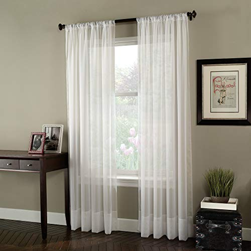 """Curtainworks Soho Voile Sheer Curtain Panel, 59 by 120"""", Winter White"""