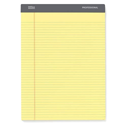 Office Depot Professional Legal Pad, 8 1/2in. x 11 3/4in, Narrow Ruled, 200 Pages (100 Sheets), Canary, pk of 4, 99502