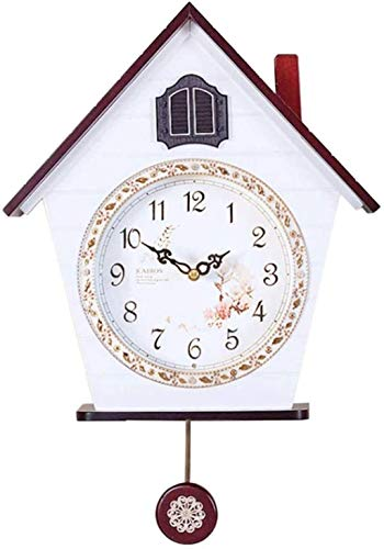 HUANE Wall Clock Alarm Clock Wooden Pendant Clock Time Home Restaurant Decoration Retro Living Room Wall Clock (Color : White)