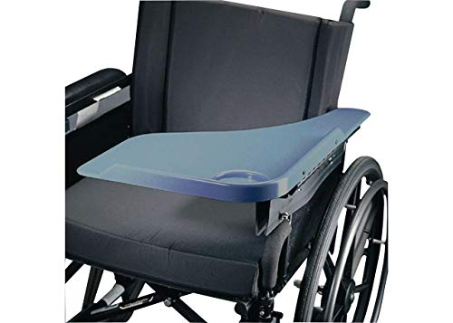 Sammons Preston Flip Away Half Lap Tray, Translucent Wheelchair Accessory Fits Right Side, Removable Tray Attaches to Full-Length or Desk Wheelchair Arms, Plastic Lap Desk Includes Ridge & Cup Indent