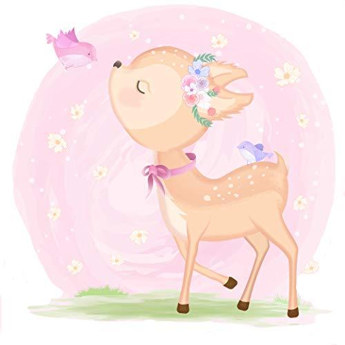 EmmiJules Wandtattoo Reh Bambi für Kinderzimmer - (23cm x 22cm) - Made in Germany - Baby Mädchen Kinder Deko Rehe Rentier Tiere Babyzimmer Wandaufkleber Wandsticker