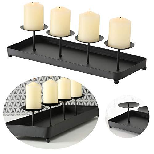 LS-LebenStil Kerzenhalter Metall 40cm Schwarz Advent Kerzen-Tablett Kerzenschale