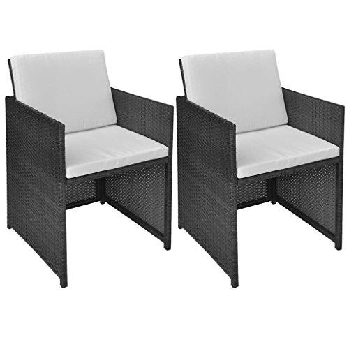 vidaXL 2X Gartenstuhl mit Auflagen Kissen Gartensessel Stuhl Sessel Stühle Balkonstuhl Gartenmöbel Essstuhl Rattanstuhl Poly Rattan Schwarz