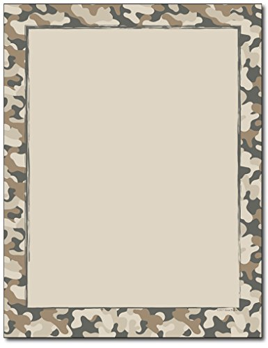 Camo Border Stationery Paper - 80 Sheets