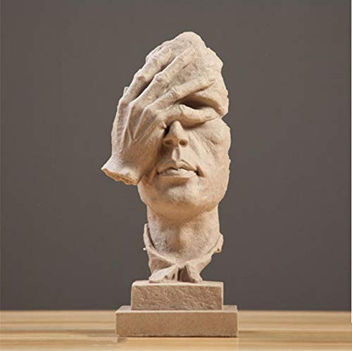 HUIYUE Hand gefertigt Stillen männer Statuen,Harz Abstract Skulptur,Office Home Dekor Figur Geschenk - Schweigen ist Gold-AA 13x12x34cm(5x5x13inch)