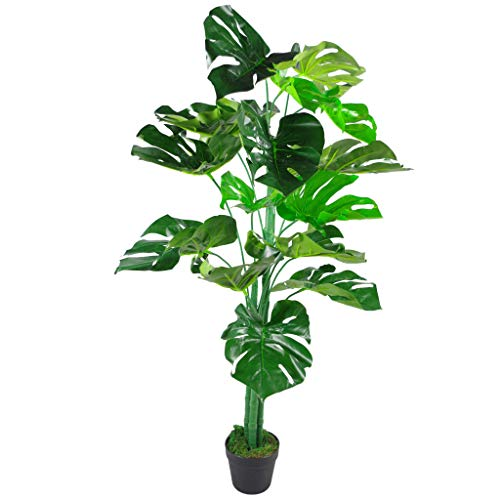 Leaf Planta Monstera Artificial de 120 cm en Maceta Negra