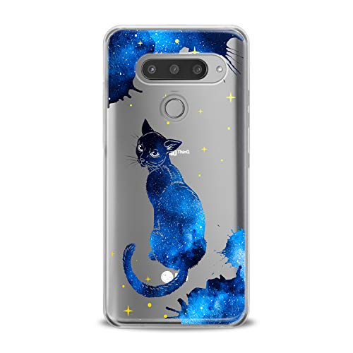 Lex Altern TPU Case Compatible with LG G8 Stylo 6 5 K62 K11 G7 ThinQ G6 K42 V35 V50 Trend Purple Girls Teen Soft Slim fit Clear Lightweight Cover Cat Galaxy Smooth Print Blue Watercolor Design Blue