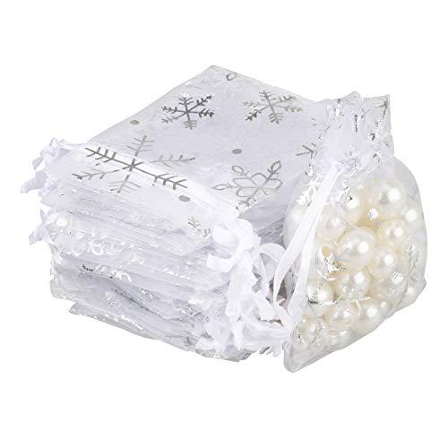 100pz Matrimonio Portaconfetti Sacchetti Regalo 7 x 9 CM Fiocco di Neve Organza Borse per Bomboniera Nozze Confetti Favore Gioielli Festa Natale