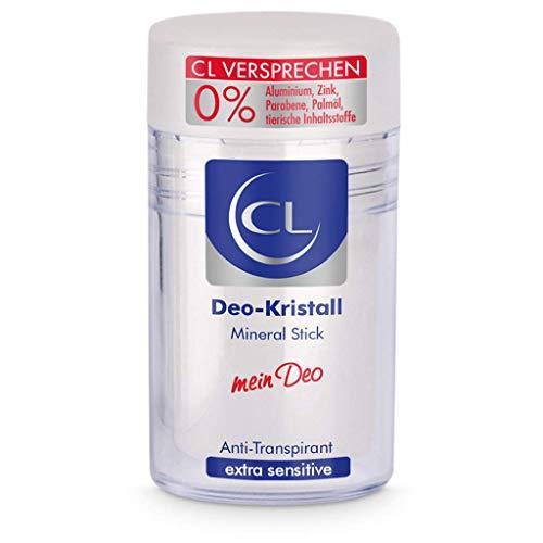 CL Deo Kristall Antitranspirant gegen starkes Schwitzen - 60 g Mineral Stick für empfindliche Haut - Deo Stick reicht für mehrere Monate - Anti Transpirant Herren & Damen - Deodorant Männer Frauen