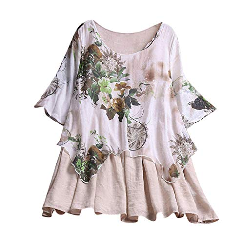 Lazzboy Women Tops Blouse Long Sleeve Ladies Floral Print Loose Casual Slouch Shirt Plus Size Oversized(5XL(22),Beige-Layered)