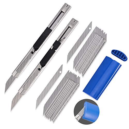 Winjun Profi Cuttermesser Set 2 Stk. Edelstahl 9mm 30 Grad Winkel Handwerksmesser 20 Stk. Ersatzklingen Abbrechklingen 1 Stk. Klingenbrecher Entsorgungsbehälter