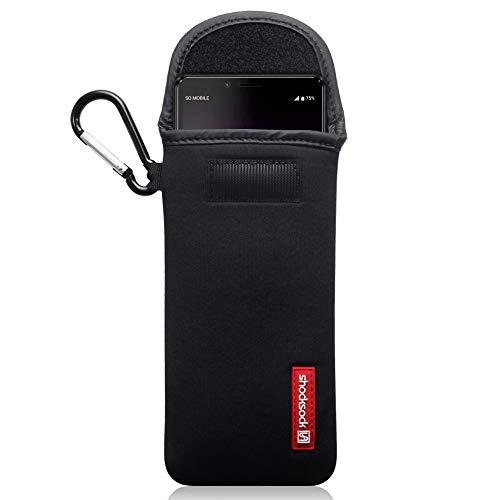 Shocksock Funda para Sony Xperia 10 II de Neopreno, Sistema de Cierre con Velcro - Negro