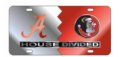 Fhdang Decor Alabama Crimson Tide FSU Seminoles House placa de licencia dividida placa de aluminio placa de licencia, placa de licencia frontal, etiqueta de tocador 4 agujeros etiqueta de auto accesorios 6' x 12'
