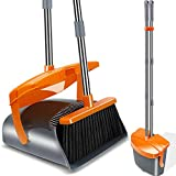 Kelamayi Dustpan Broom Upright Standing Set Extended Long Handle Broom Dust Pan Stainless Self-Cleaning Broom Combo Ideal for Indoor Home Kitchen Lobby Cleaning,Gray & Orange
