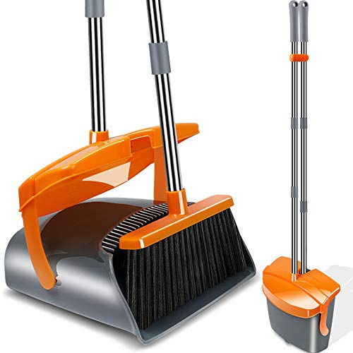 Kelamayi Broom and Dustpan Set Stainless Long Handle Dust Pan Broom Combo with Lid Commercial Sweep Set Lobby Upright Broom for Home Kitchen Room Office Floor