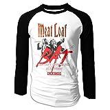 Eyscar Cotton Baseball Raglan Meat Loaf Band Bat Out of Hell Logo of Long Mens Shirt L Black