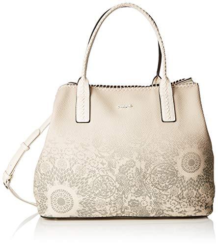 Desigual Bag Double Gin_holbox Women - Borse a spalla Donna, Bianco (Rainy Day), 17x30.5x37 cm (B x H T)