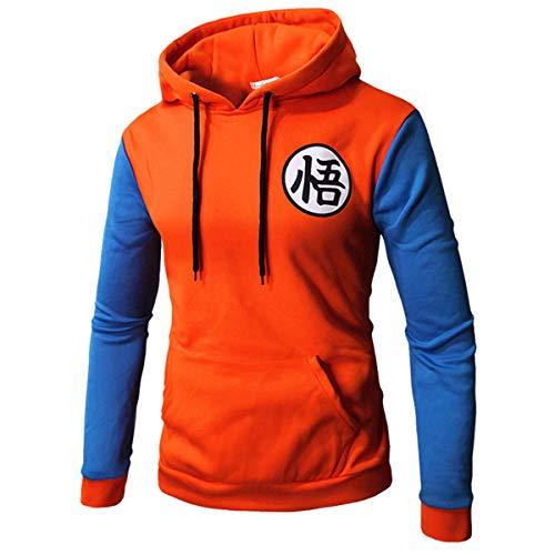 CHENMA Men Dragon Ball Goku Langarm Vorne schnappen Bomberjacke Varsity Jacke mit Kapuze (M, Pullover Orange&Blau)