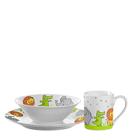 Leonardo Bambini Kinder Geschirrset Porzellan, 3 teilig, Kindergeschirr mit Tier-Motiven, Löwe, Krokodil, Elefant, spülmaschinengeeignet, 018637