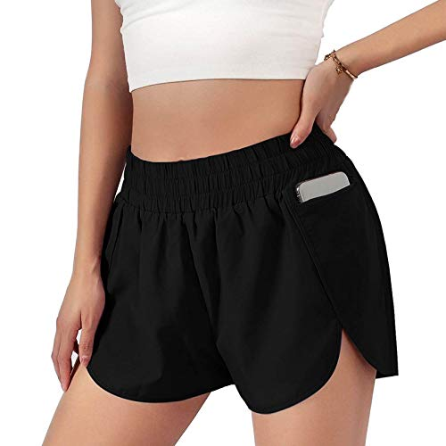 DeaAmyGline Sport Shorts Damen Kurze Hose mit Futter Elastische Taille Tasche Sommer Shorts Frauen Sweatshorts Jogginghose Laufshorts Sportshorts Wandershorts