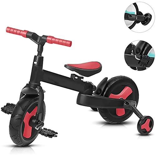 GUORZOM Triciclo Bambini 4 in 1, Pieghevole Balance Bike Insieme a Regolabile Posto a Sedere, Bambino Che Fa i Primi Passi Tricicli Figli Camminatore, per 1-6 Anni Ragazzi Ragazze,Rosso
