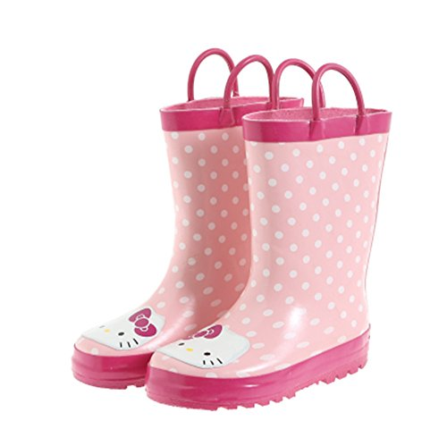 Kids Girls Hello Kitty Printed Waterproof Easy-On Rubber Rain Boots (Toddler/Little Kid) (1M US Little Kid) Pink