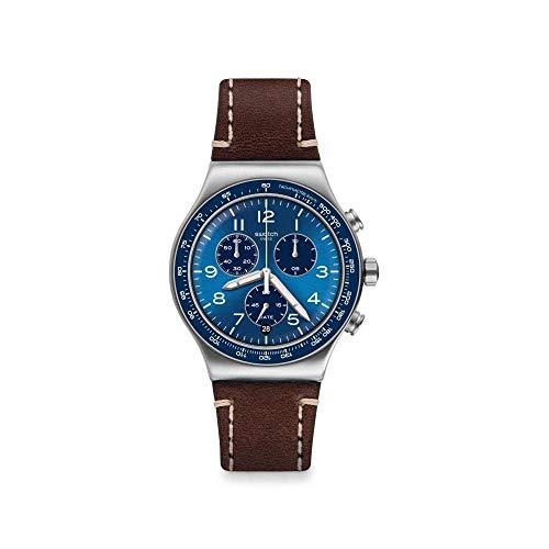Swatch Reloj Analógico para Hombre de Cuarzo Suizo con Correa en Cuero-Piel de Becerro YVS466